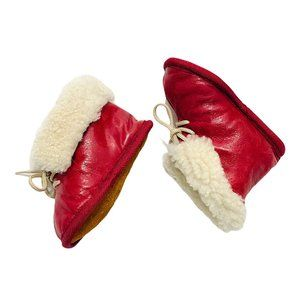 Burgundy Leather Faux Fur Lined Moccasins
